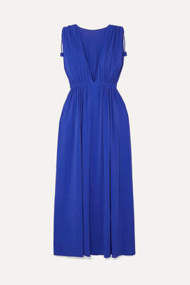 Eres Mikado Ryokucha Ruched Stretch-jersey Maxi Dress - Bright blue