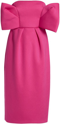DELPOZO Strapless Bow-embellished Neoprene Dress