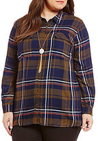Gibson & Latimer Plus Plaid Button-Down Top