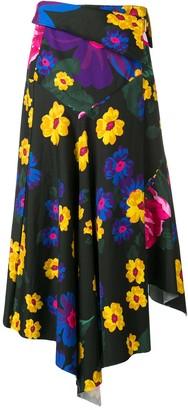 Marques Almeida Floral Asymmetrical Drape Skirt