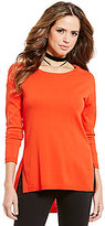 Gianni Bini Lilly Split Hem Solid Pullover Sweater