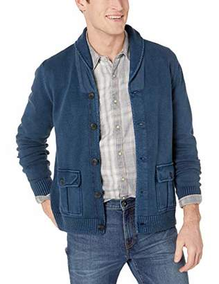 Lucky Brand Men's Button UP Military Shawl Collar Cardigan Sweater