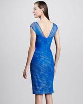 Monique Lhuillier Asymmetric Ruched Cocktail Dress