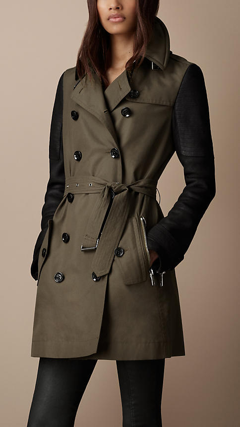 Burberry Mid-Length Leather Sleeve Cotton Trench Coat