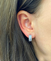 Swarovski Sevil 925 Women's Earrings - Sterling Silver Baguette and Round Cut Huggie Earrings With Crystals