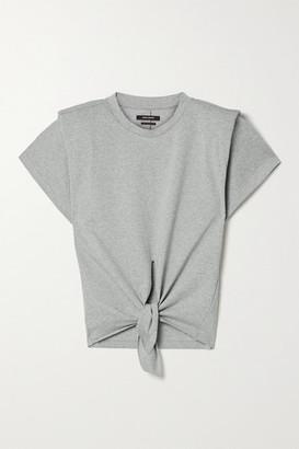 Isabel Marant Belita Tie-front Cotton T-shirt - Gray