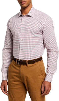 Neiman Marcus Men's Modern Fit Tattersall Check Sport Shirt