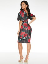Quiz Polka Dot Rose Print Midi Dress - Black
