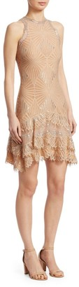 Jonathan Simkhai Sheer Metallic Tiered Mini Dress