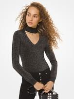 MICHAEL Michael Kors Metallic Knit Cutout Sweater