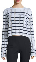 Alexander Wang Distressed Striped Boxy Sweater, Ink/Ivory