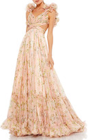 Thumbnail for your product : Mac Duggal Floral Chiffon Ruffle-Strap Gown