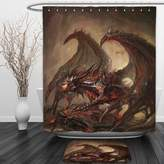 Vipsung Shower Curtain And Ground MatDragon Decor Collection Majestic Molten Demonic Armored Soldier Dragon on Inferno Rocks Heat Hot Hell Dirty Print Red BrownShower Curtain Set with Bath Mats Rugs