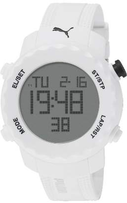 Puma Sharp Unisex Digital Watch with White Dial Digital Display and White PU Strap PU911031004