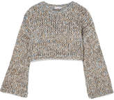 Brunello Cucinelli Cropped Open-knit Sweater - Gray