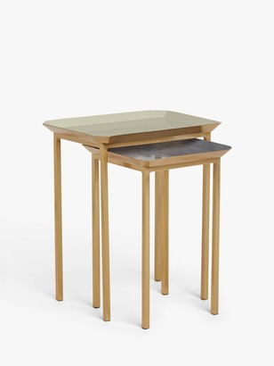 John Lewis & Partners Aslan Square Nest of 2 Tables, Dusty Green/Grey