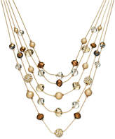 INC International Concepts I.N.C. Gold-Tone Bronze Bead Illusion Necklace