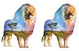 Set of 2 Waterproof Temporary Fake Tattoo Stickers Watercolor Scenery Lion Animals Unique