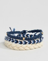 ICON BRAND Woven Bracelet Pack In Blue