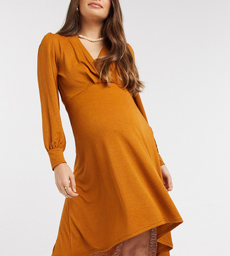 Mama Licious Mamalicious Maternity high low dress with volume sleeves in rust