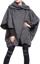 ELLAZHU Women Fashion Stripe Lapel Raglan Sleeve Coat Outwear GY254