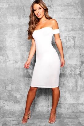 boohoo Petite Off the Shoulder Midi Dress