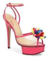 Charlotte Olympia Pomeline Barbie Shoe Mesh & Patent Leather Platform Sandals