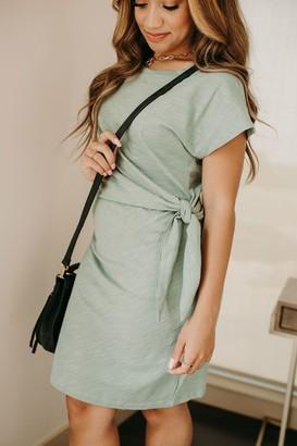 Tied Waist Tee Dress - Sage