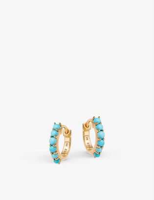 Missoma Turquoise 18ct yellow gold-plated vermeil huggie earrings