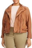 Lauren Ralph Lauren Plus Burnished Leather Moto Jacket
