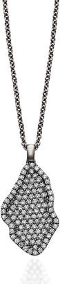 Signature Pave Diamond Geode Inspired Pendant Necklace set in 18k White Gold