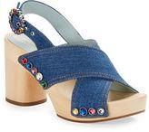 Marc Jacobs Linda Embellished Denim Platform Clog Sandals