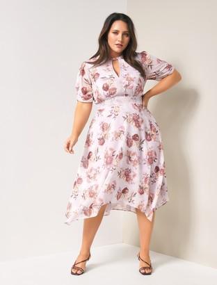 Forever New Penny Curve Puff Sleeve Dress - Vintage Blush Botanical - 16