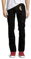 Robin's Jeans Distressed Slim-Straight Jeans w/Holes, Black
