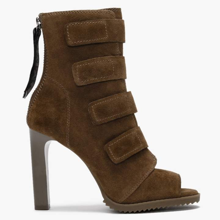 DKNY Blake Latte Suede Peep Toe Ankle Boots