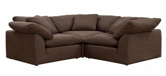 Sunset Trading Cloud Puff Sectional 3 Piece Slipcovered L Shaped Modular Sofa | Couch with Removable Washable Performance Fabric Slipcovers | Configurable