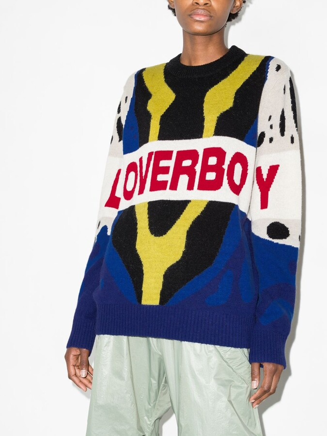 Thumbnail for your product : Charles Jeffrey Loverboy Yellow Jacquard Knit Logo Sweater