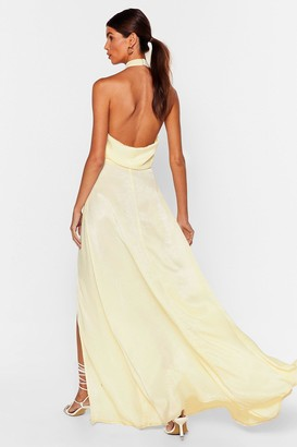 Nasty Gal Womens Cowl It a Night Satin Maxi Dress - Lemon