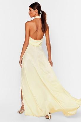 Nasty Gal Womens Cowl It a Night Satin Maxi Dress - Yellow - 12