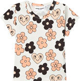Mini Rodini Off White Flowers Tee