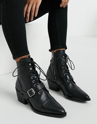 AllSaints Katy lace up heeled leather boots with buckle in black