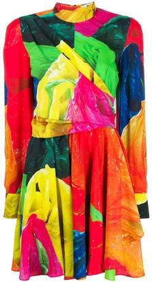 MSGM printed draped mini dress
