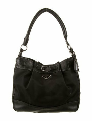 Prada Leather-Trimmed Hobo Black