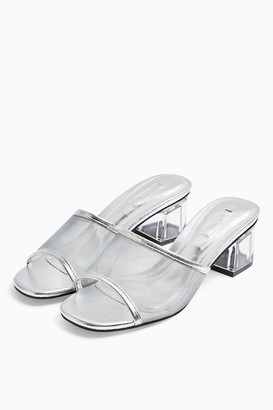 Topshop DUSTY Silver Transparent Mules