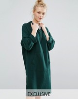 Monki Zip Neck Hoodie Sweat Dress