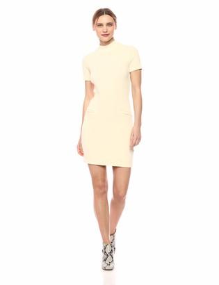 Monrow Women's Chunky Rib Mock Neck S/S Mini Dress