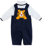 Florence Eiseman Twill Tiger Overalls w/ Long-Sleeve Turtleneck, Size 3-24 Months