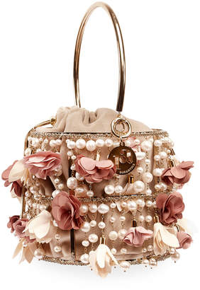 Rosantica Rea Faux-Pearl & Golden Cage Clutch Bag