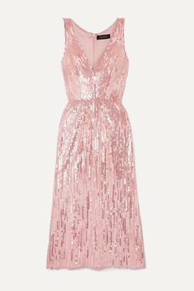 Jenny Packham Evia Embellished Tulle Midi Dress - Blush