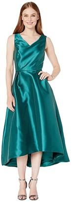 Tahari ASL Solid Mikado V-Neck Midi Dress (Hunter Green) Women's Clothing